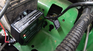 battery trickle charger on a mower
